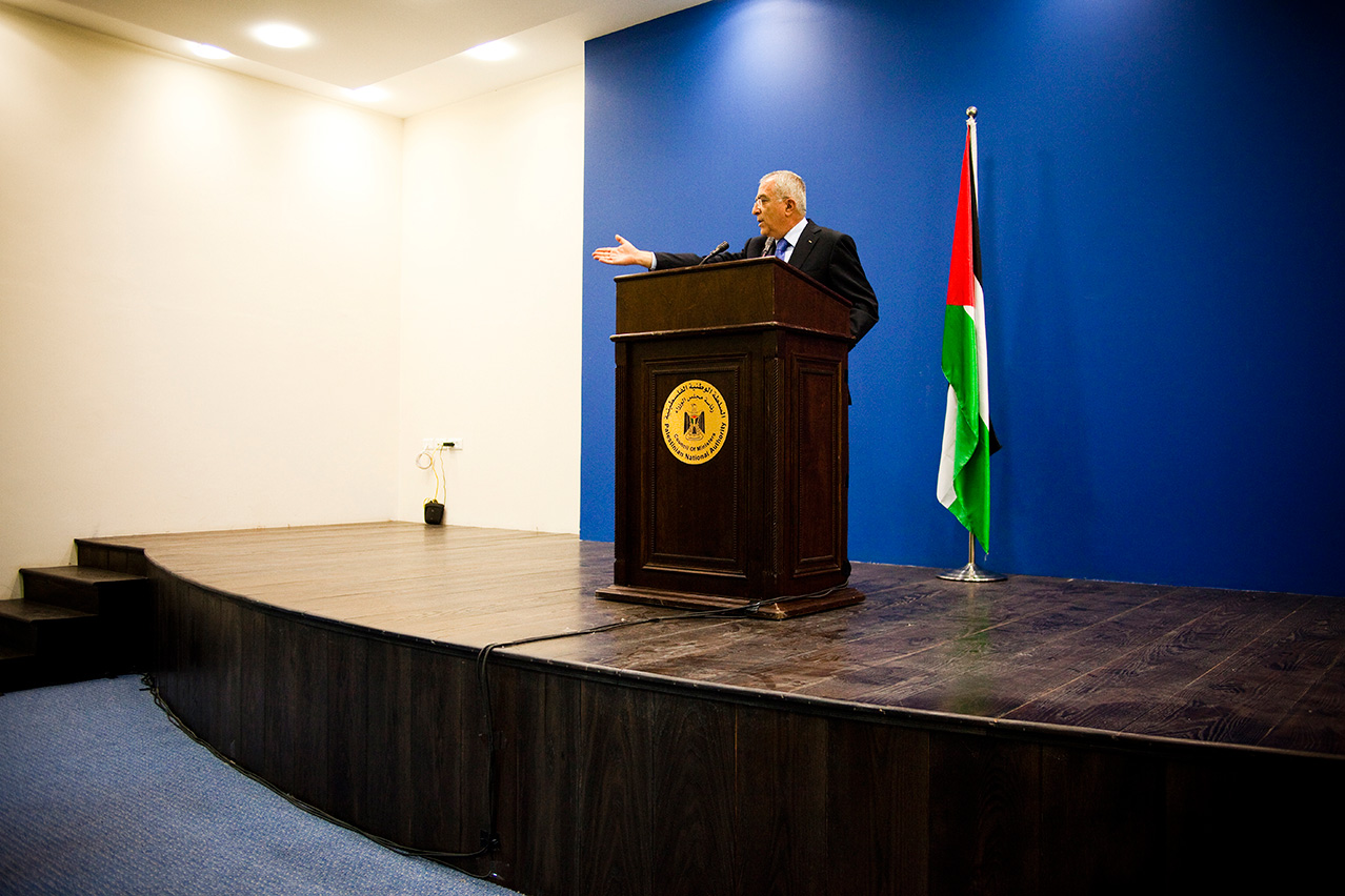 RAMALLAH, PALESTINIAN TERRITORIES - MAY 2011.  Salam Fayyad, Prime Minister, gives a press conference. He is considered to be the architect of the economic boom currently happening in Ramallah.